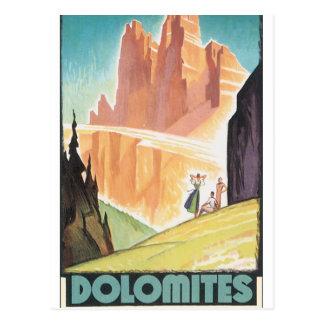 Dolomites Vintage Travel Poster Postcard