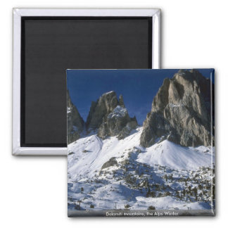 Dolomiti mountains, the Alps Winter Square Magnet