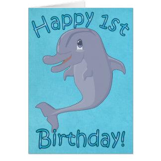 Dolphin 1st Birthday Card