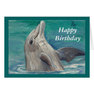 Dolphin aceo Birthday Card