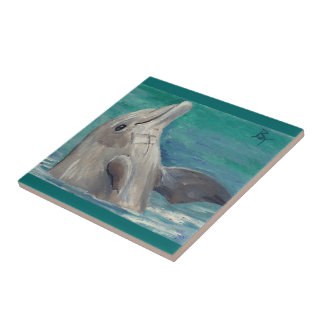 Dolphin aceo small square tile