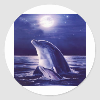 Dolphin and Baby Classic Round Sticker