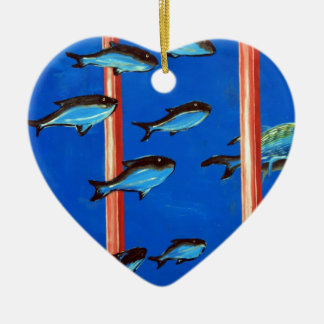 Dolphin and fish christmas ornament