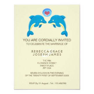 Dolphin And Love Heart Bubble Evening Reception 11 Cm X 14 Cm Invitation Card