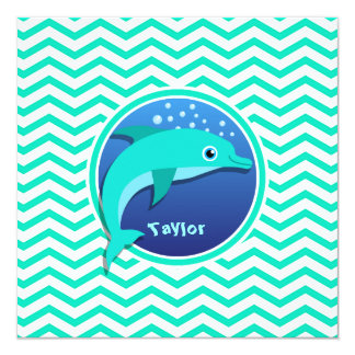 Dolphin; Aqua Green Chevron Card