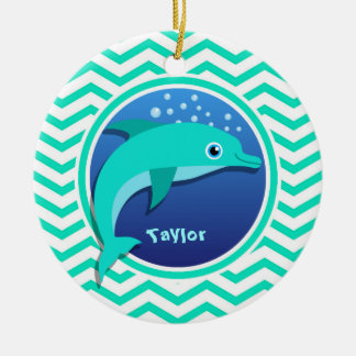 Dolphin; Aqua Green Chevron Christmas Ornament