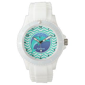 Dolphin; Aqua Green Chevron Watch