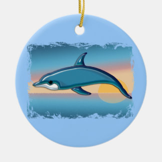 Dolphin at Sunrise Christmas Ornament