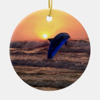 Dolphin at sunset christmas tree christmas ornament