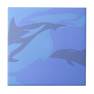 Dolphin Background Small Square Tile