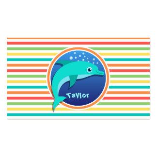 Dolphin Bright Rainbow Stripes Business Card