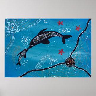 Dolphin & Calf Poster by Mundara