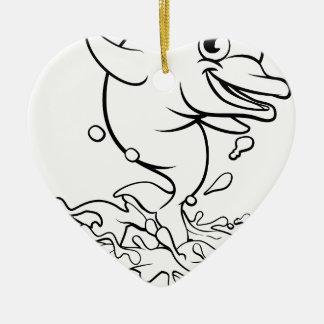 Dolphin Cartoon Character Splashing Christmas Ornament