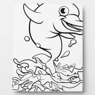 Dolphin Cartoon Character Splashing Plaque