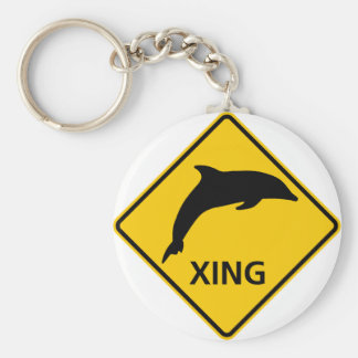 Dolphin Crossing HIghway Sign Key Ring