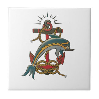 dolphin design small square tile