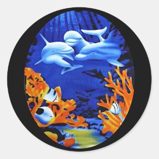 Dolphin dreams sticker round sticker