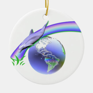Dolphin Earth Day Christmas Ornament
