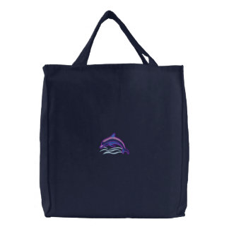 Dolphin Embroidered Tote Bag