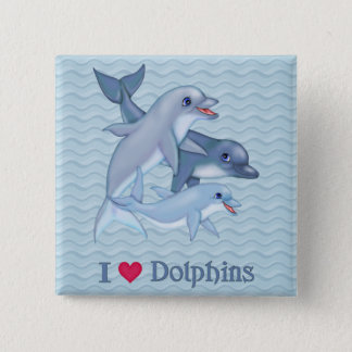 Dolphin Family 15 Cm Square Badge