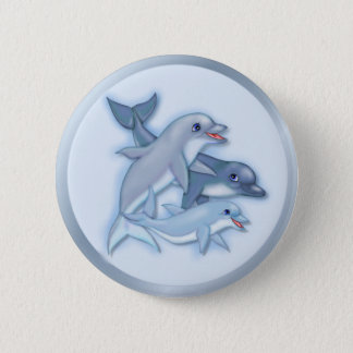 Dolphin Family 6 Cm Round Badge