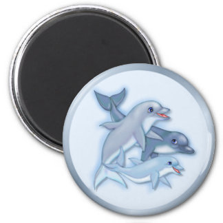 Dolphin Family 6 Cm Round Magnet