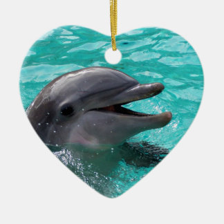 Dolphin head in aquamarine water christmas ornament