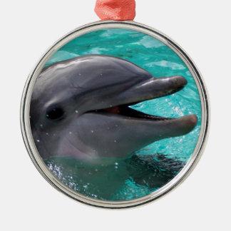 Dolphin head in aquamarine water christmas ornament