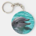 Dolphin head in aquamarine water keychains