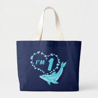 Dolphin Heart 1st Birthday Canvas Bags