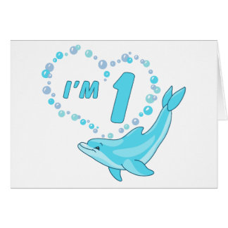 Dolphin Heart 1st Birthday Stationery Note Card