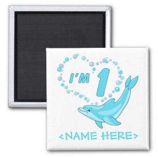 Dolphin Heart 1st Birthday Square Magnet