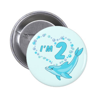 Dolphin Heart 2nd Birthday Button