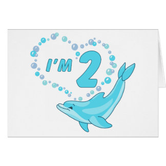 Dolphin Heart 2nd Birthday Stationery Note Card