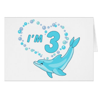 Dolphin Heart 3rd Birthday Stationery Note Card