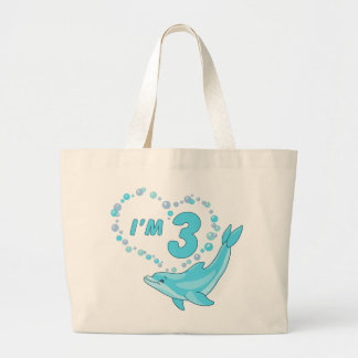 Dolphin Heart 3rd Birthday Large Tote Bag