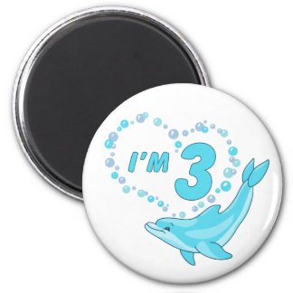 Dolphin Heart 3rd Birthday Refrigerator Magnet