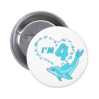 Dolphin Heart 4th Birthday Pinback Button