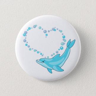 Dolphin Heart 6 Cm Round Badge