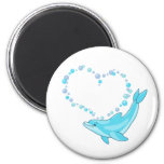 Dolphin Heart 6 Cm Round Magnet