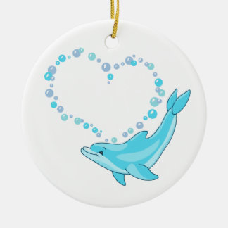 Dolphin Heart Christmas Ornament