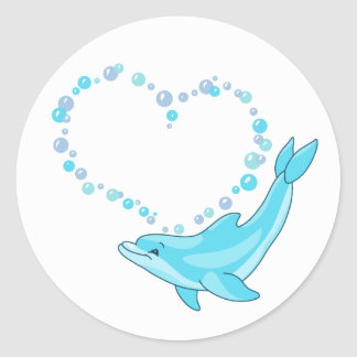 Dolphin Heart Classic Round Sticker