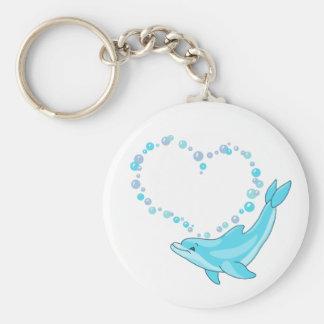 Dolphin Heart Key Ring
