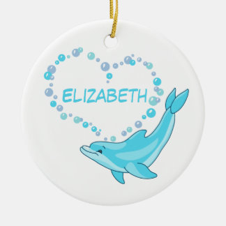 Dolphin Heart Personalized Round Ceramic Decoration
