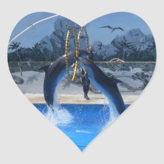 Dolphin Heart Sticker