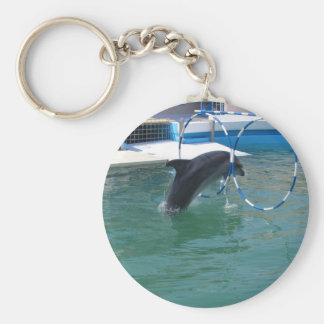 Dolphin Hoop Basic Round Button Key Ring