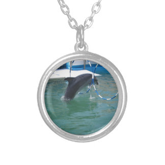 Dolphin Hoop Round Pendant Necklace