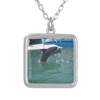 Dolphin Hoop Square Pendant Necklace
