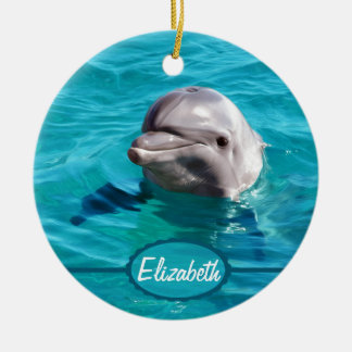 Dolphin in Blue Water Photo Christmas Ornament