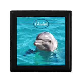 Dolphin in Blue Water Photo Gift Box